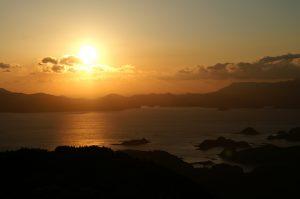 冷水岳展望台から九十九島と夕日